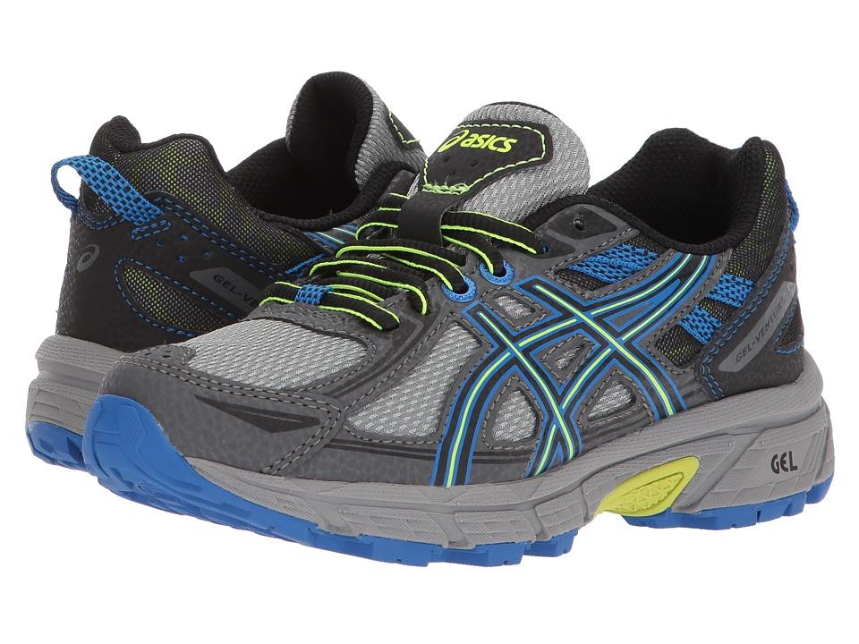 ASICS Kids GEL-Venture 6 GS (Little Kid/Big Kid) (Stone Grey/Black/Blue) Boys Shoes