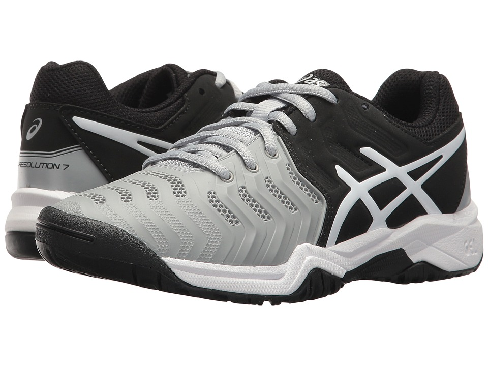 ASICS Kids - GEL-Resolution(r) 7 GS Tennis (Little Kid/Big Kid) (Mid Grey/Black/White) Boys Shoes