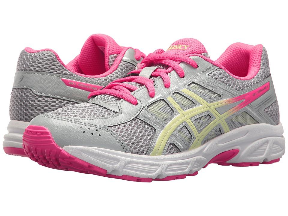 Image of ASICS Kids - GEL-Contend 4 GS (Big Kid) (Mid Grey/Limelight/Hot Pink) Girls Shoes