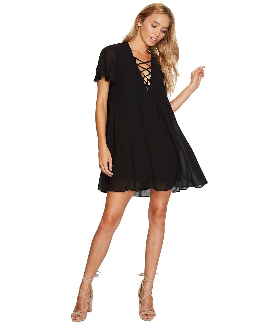 Show Me Your Mumu Kylie Lace-Up Dress (Black Chiffon) Women
