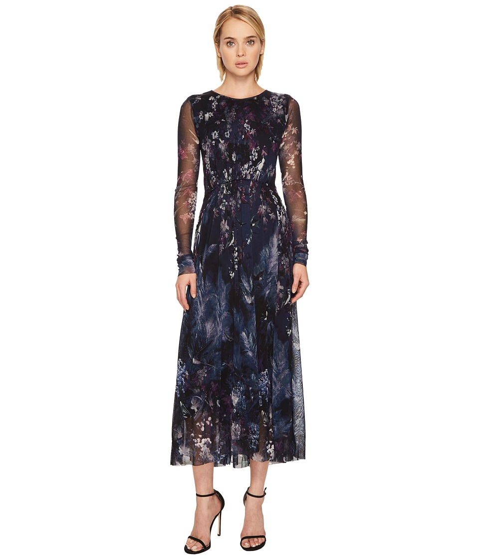 FUZZI Long Sleeve Blue Bird Print Gown Cover-Up (Tenebra)
