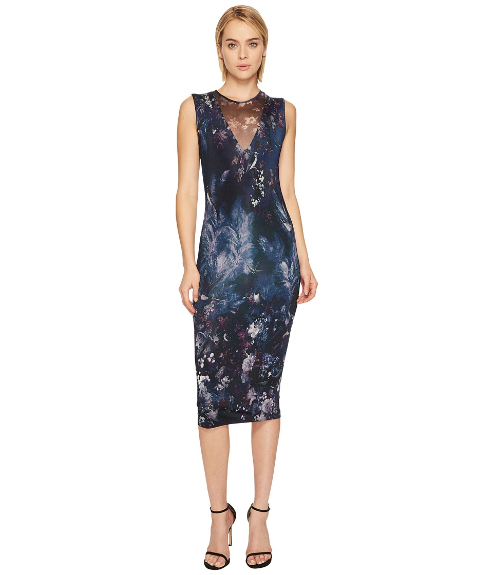 FUZZI - Fitted Jersey Dress with Tulle Illusion Detail Cover-Up