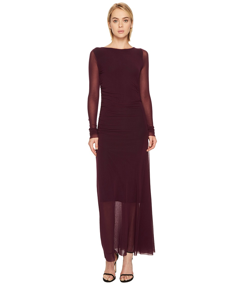FUZZI - Long Sleeve Rushed Waist Long Solid Dress Cover-Up
