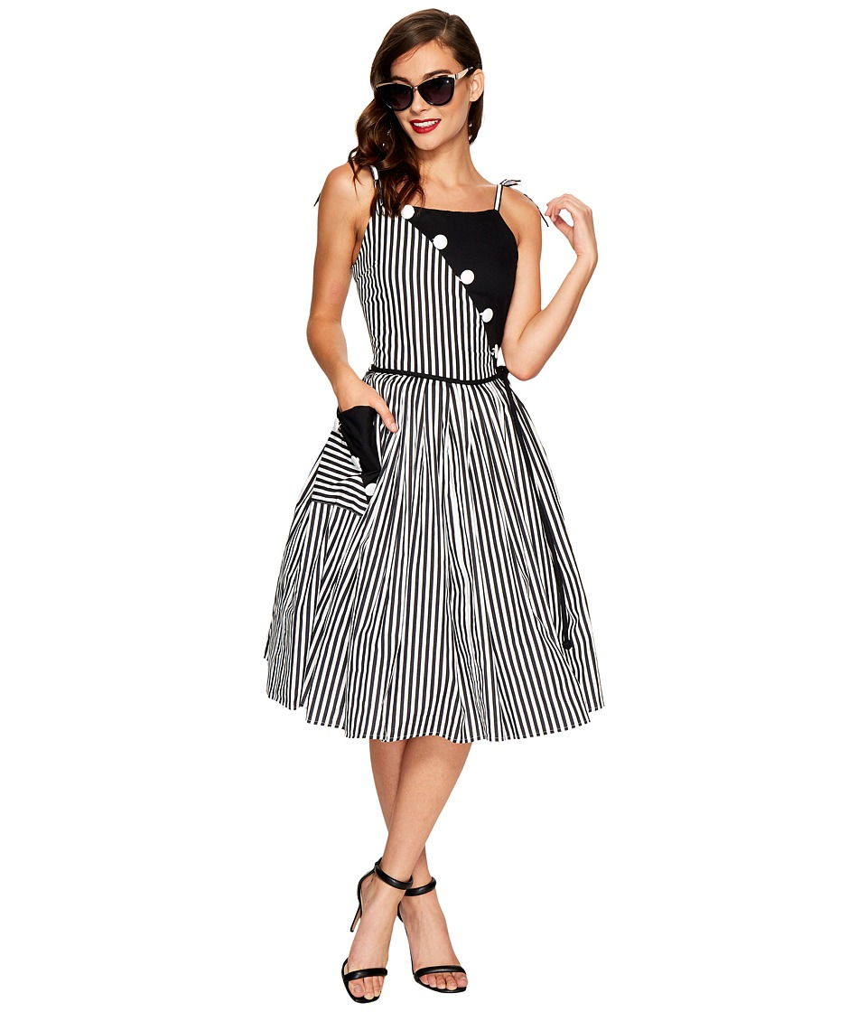 Unique Vintage Hamilton Swing Dress (Black/White Stripe) Women