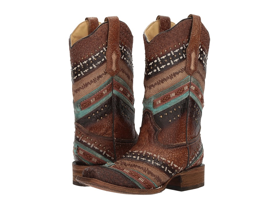 Corral Boots - A3424 (Turquoise/Brown) Cowboy Boots