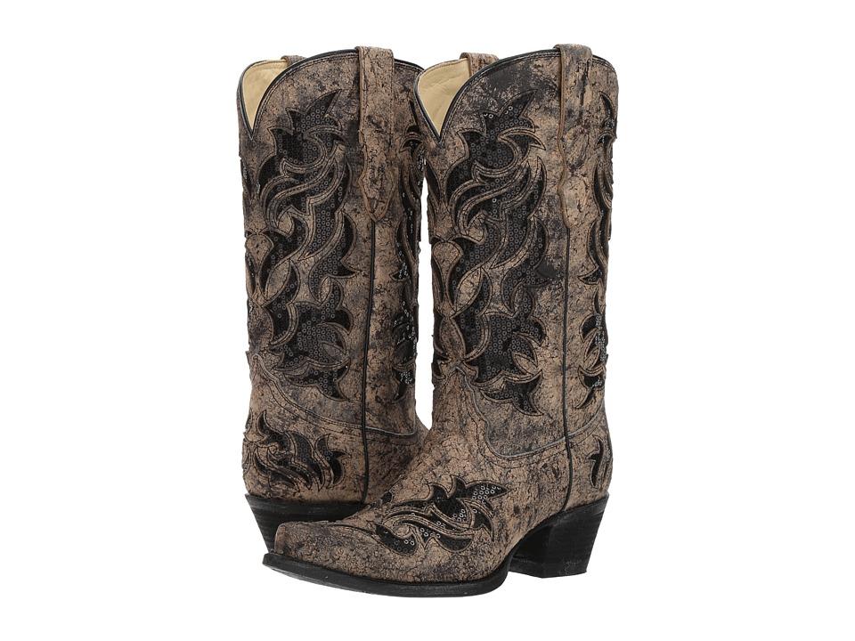 Corral Boots - E1237 (Black/Bone/Glitter) Cowboy Boots