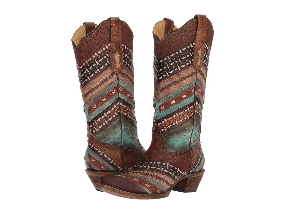 Corral Boots A3381 (Turquoise/Brown) Cowboy Boots