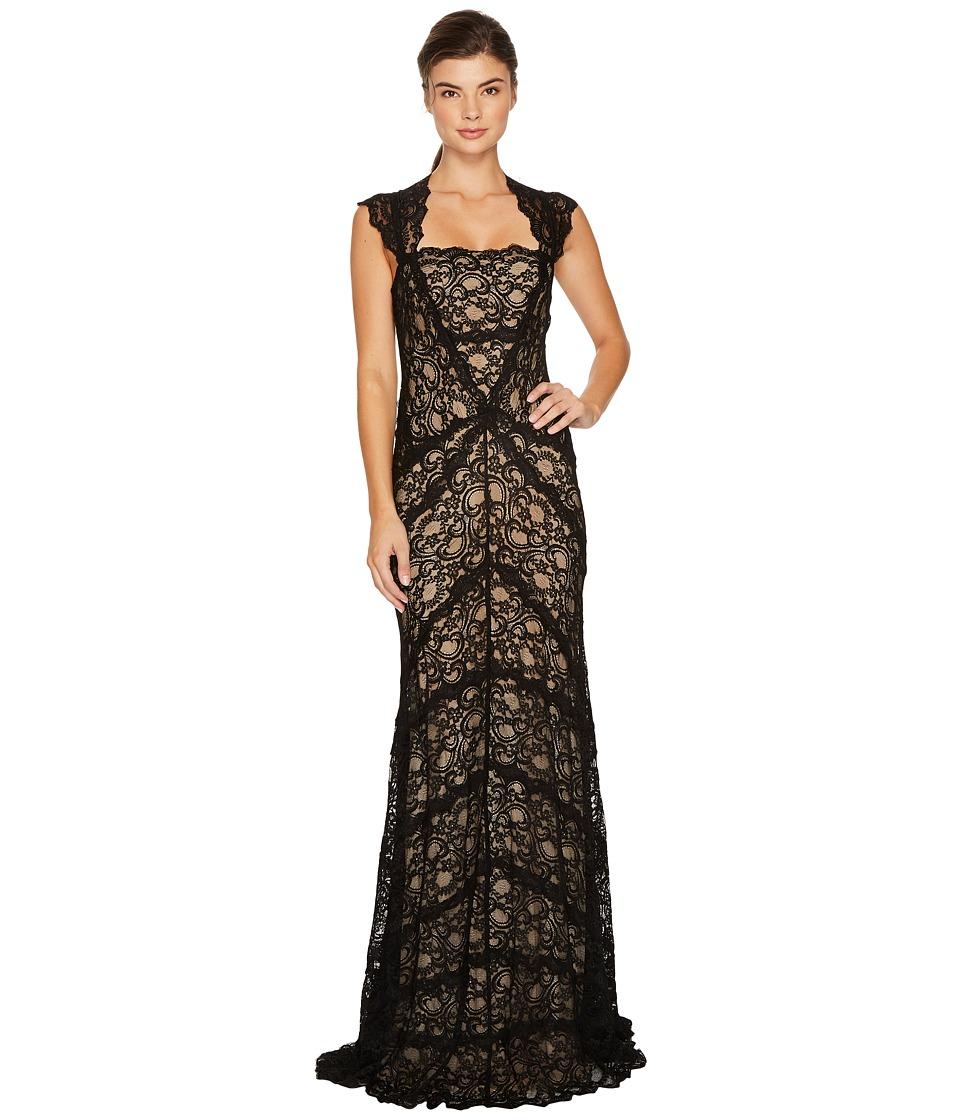 Nicole Miller Eva Gown Stretch Lace (Black/Nude) Women