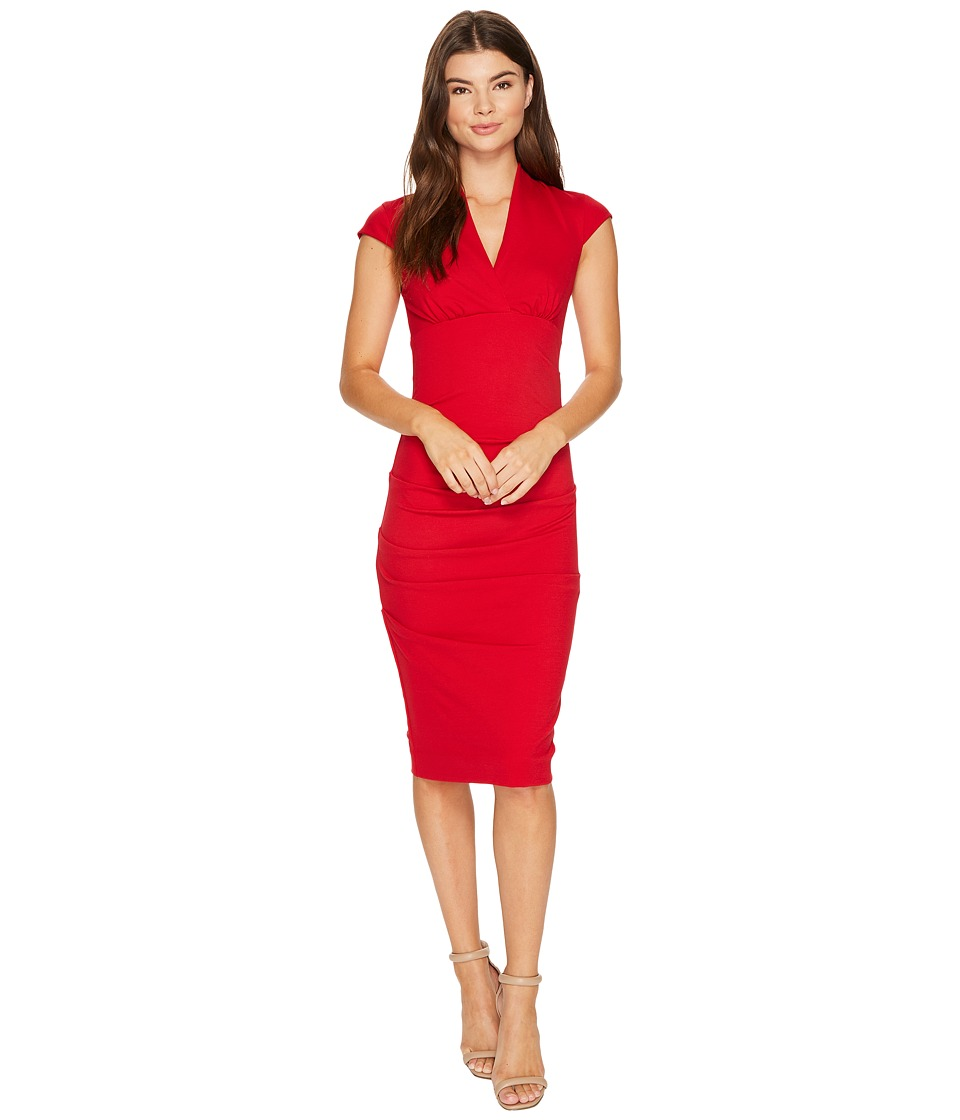 Nicole Miller - Hadley Ponte Cap Sleeve V-Neck Dress