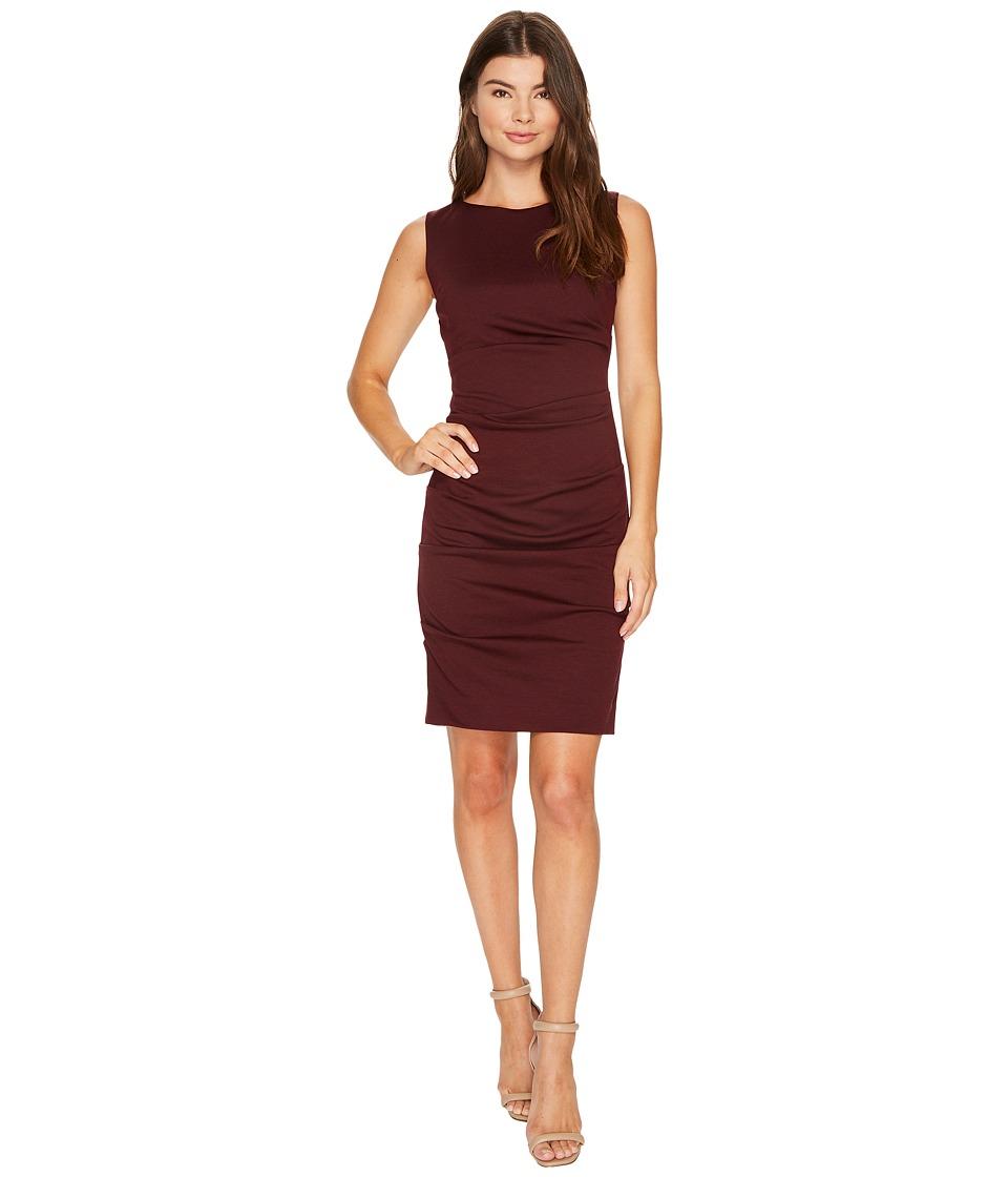 Nicole Miller Ponte Sleeveless Tucked Dress (Burgundy) Women