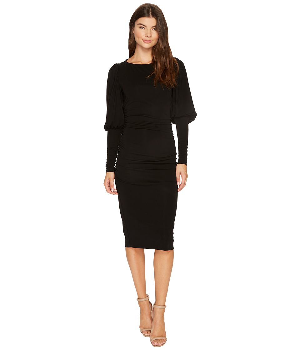 Nicole Miller Elizabetta Matte Jersey Puff Sleeve Dress (Black) Women