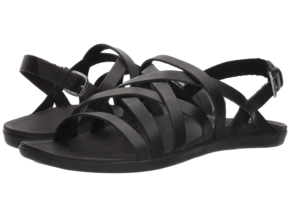 OluKai - 'Awe'Awe (Black/Black) Women's Sandals
