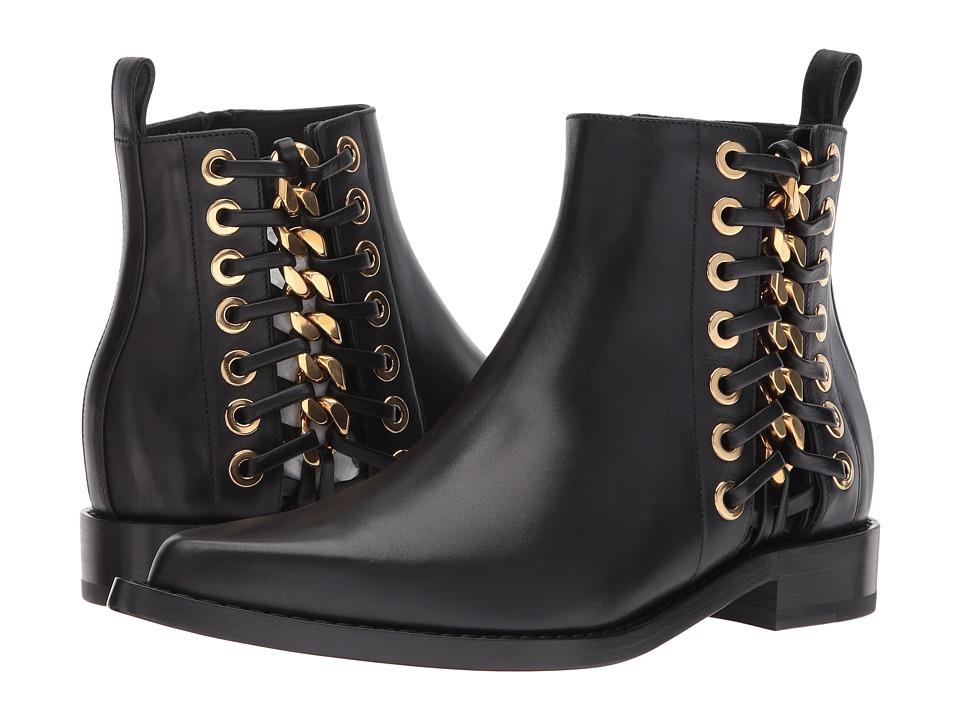 Alexander McQueen Braided Chain Ankle Boot (Black Gold) Women