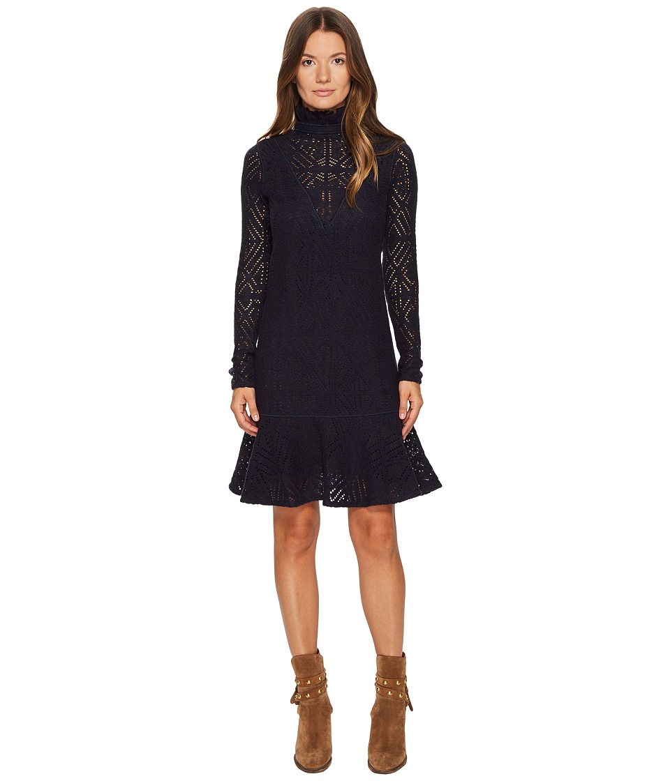 See by Chloe Lacey Jersey Long Sleeve Dress (Abyss Blue) Women