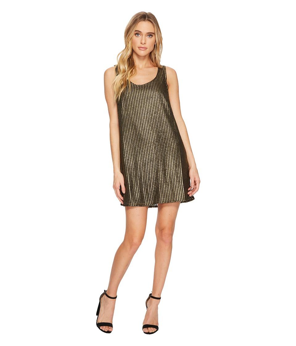 Jack by BB Dakota - Tawny Metallic Mesh Shift Dress (Black) Womens Dress