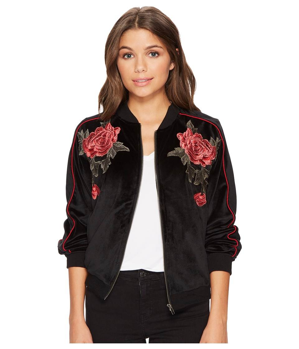 Jack by BB Dakota - Eleni Velvet Bomber Jacket with Floral Patches (Black) Womens Coat
