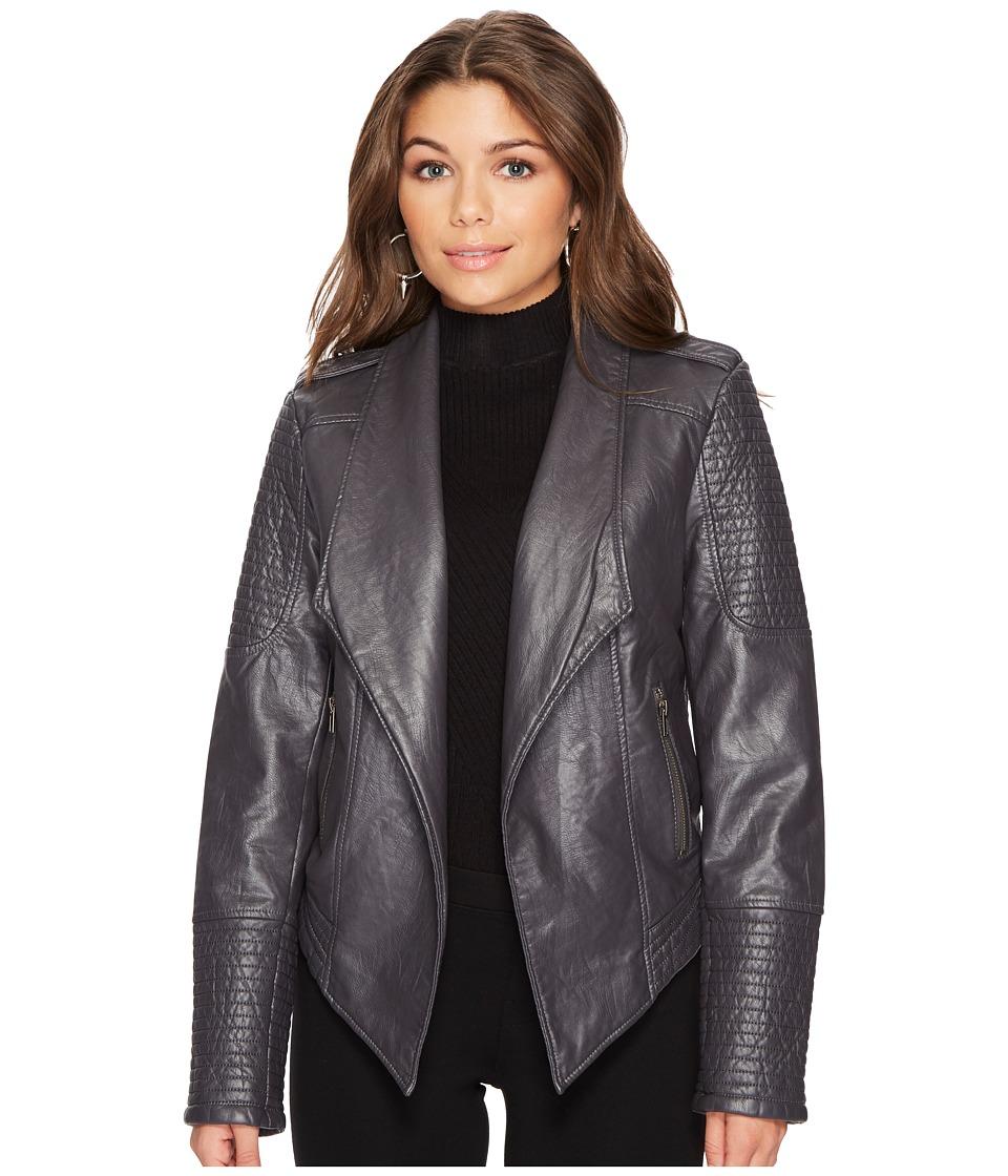 Jack by BB Dakota - Amanda Washed Vegan Leather Jacket (Foged Iron) Womens Coat