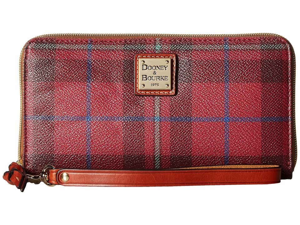Dooney & Bourke - Tiverton Large Zip Around Wristlet (Cranberry/Tan Trim) Wristlet Handbags