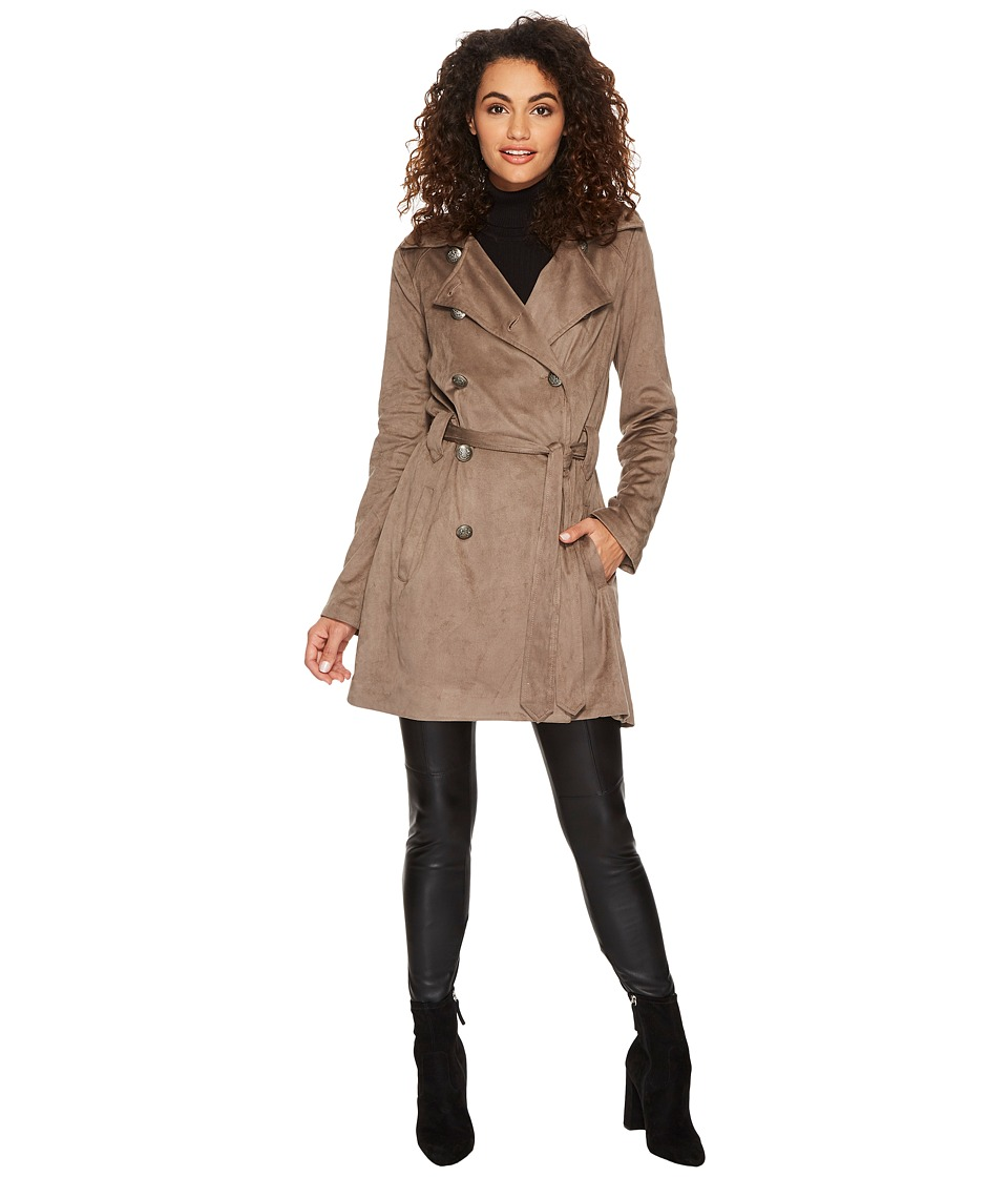 Jack by BB Dakota - Baldwin Faux Suede Belted Trench Coat (Falcon Brown) Womens Coat
