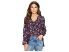 Jack by BB Dakota Andrea Fanning Floral Mixed Print Crinkle Chiffon Top