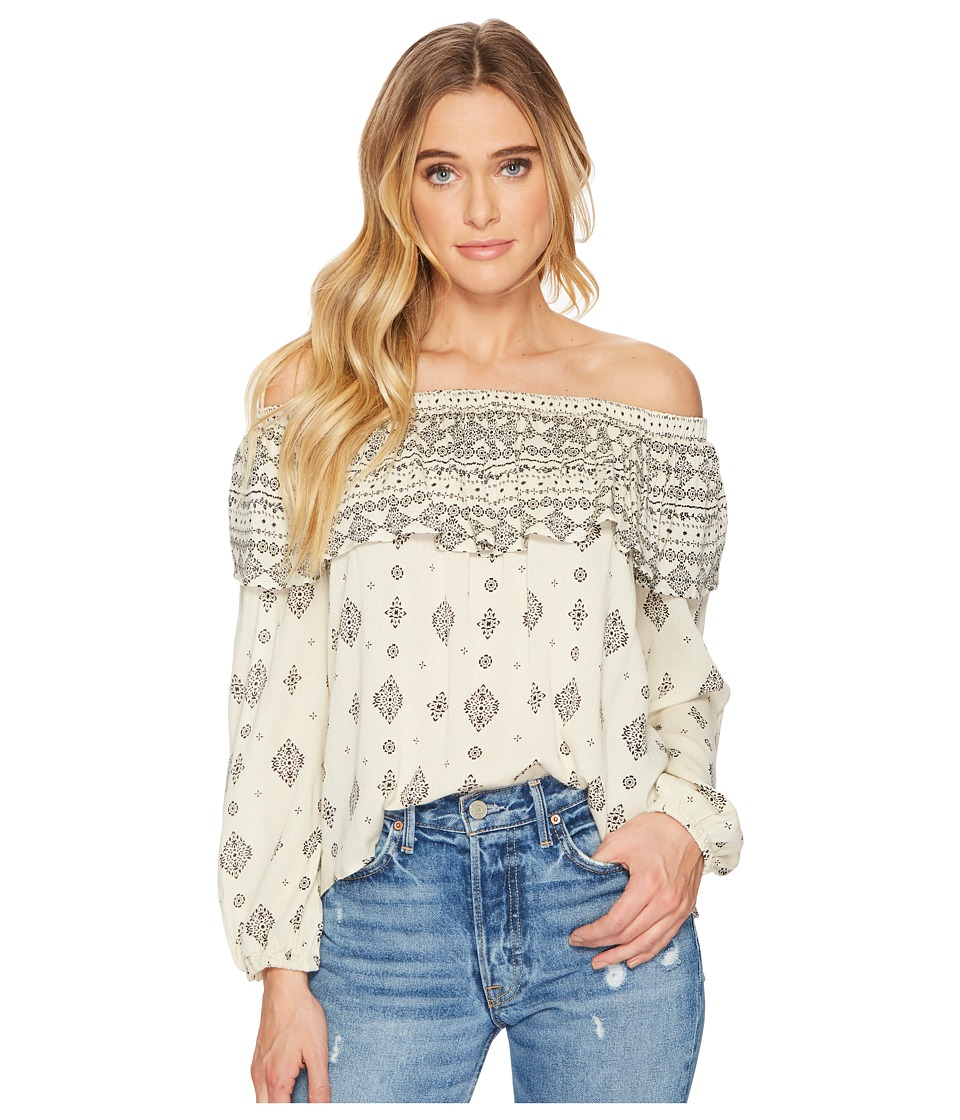 Jack by BB Dakota - Bernadine Mixed Print Crinkle Viscose Off Shoulder Top (Ivory) Womens Clothing