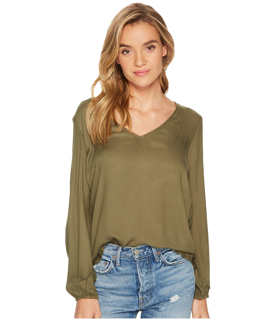 Jack by BB Dakota - Linzy Rayon Crisscross Back Top (Beetle Green) Womens Clothing