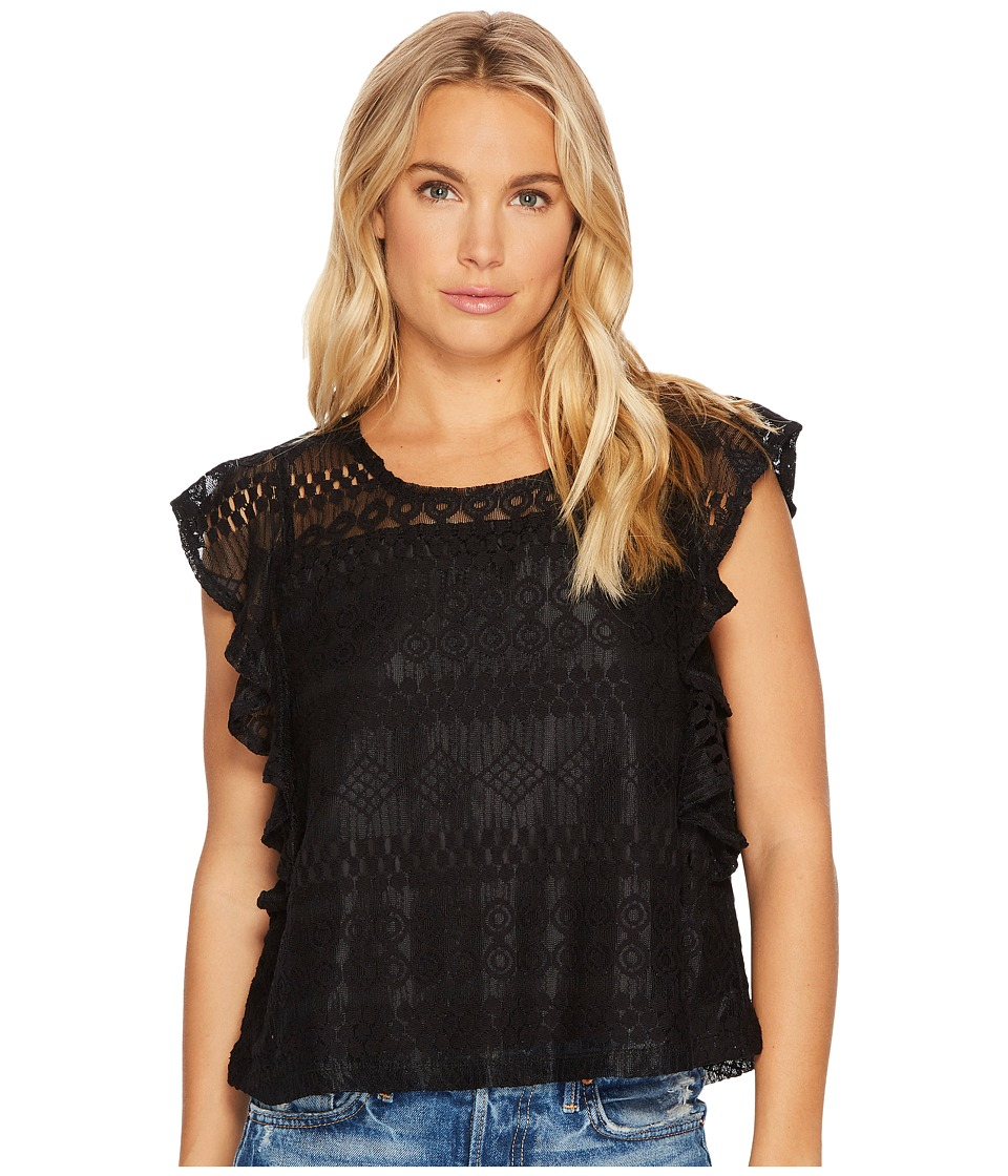 Jack by BB Dakota - Dori Stripe-Pattern Lace Top (Black) Womens Clothing