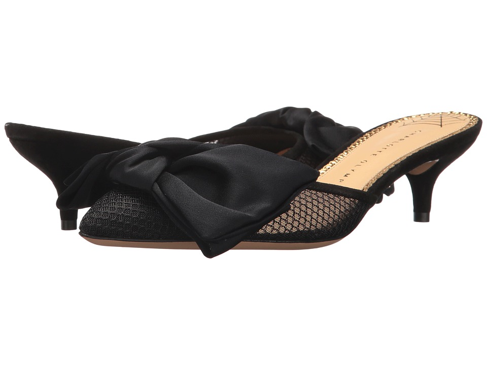 Charlotte Olympia Sophie (Black Satin/Fishnet/Suede) Women