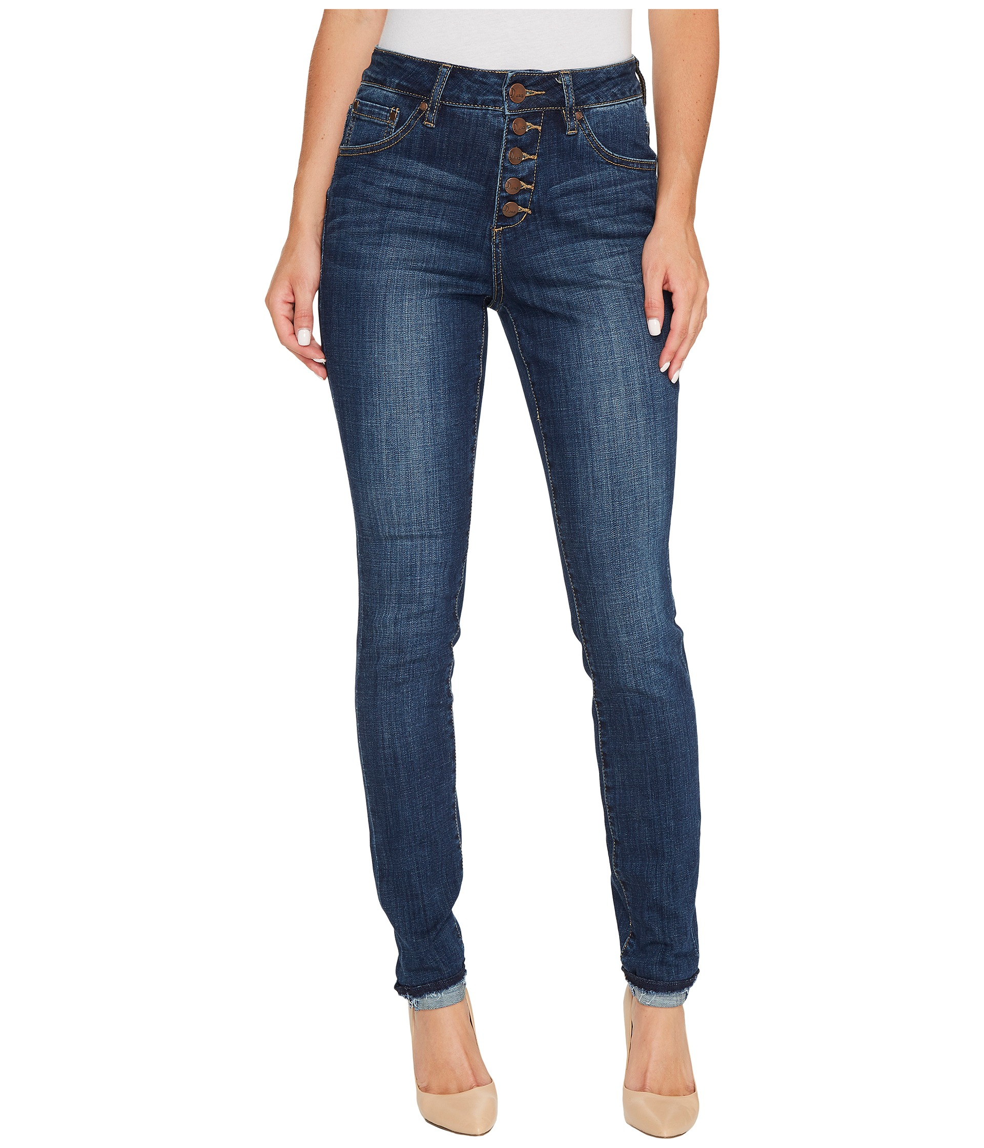 Jag Jeans Gwen Skinny High-Rise Jeans in Crosshatch Denim in Thorne Blue at Zappos.com