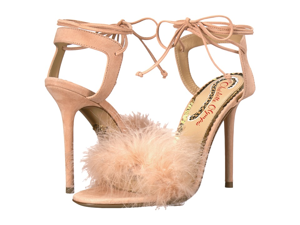 Charlotte Olympia Salsa 110 (Blush Suede/Ostrich Feather) High Heels