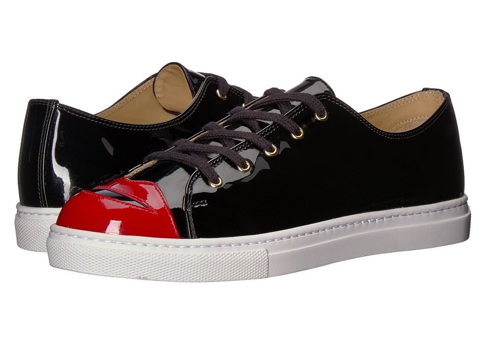 Charlotte Olympia - Kiss Me Sneakers (Black Patent) Womens Lace up casual Shoes