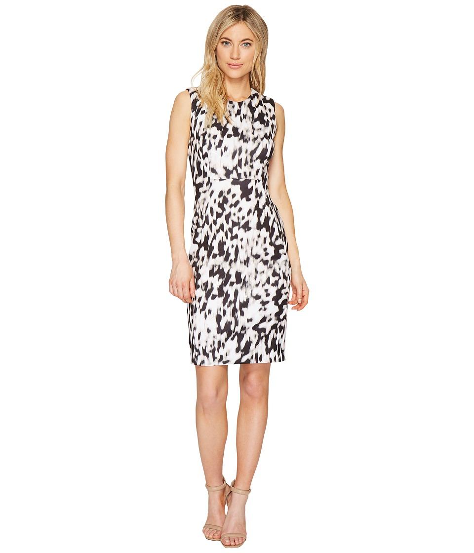 Calvin Klein Printed Sheath Dress (Latte/Soft White Combo) Women