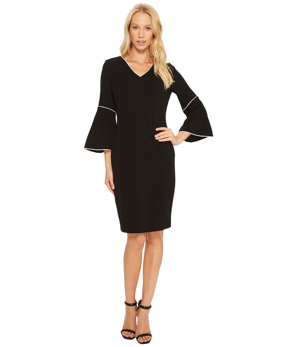 Calvin Klein Bell Sleeve Dress (Black) Women