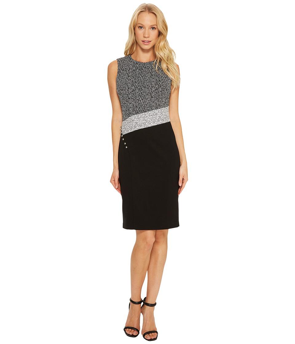 Calvin Klein Angle Bottom Blocked Sheath Dress (Black/White) Women