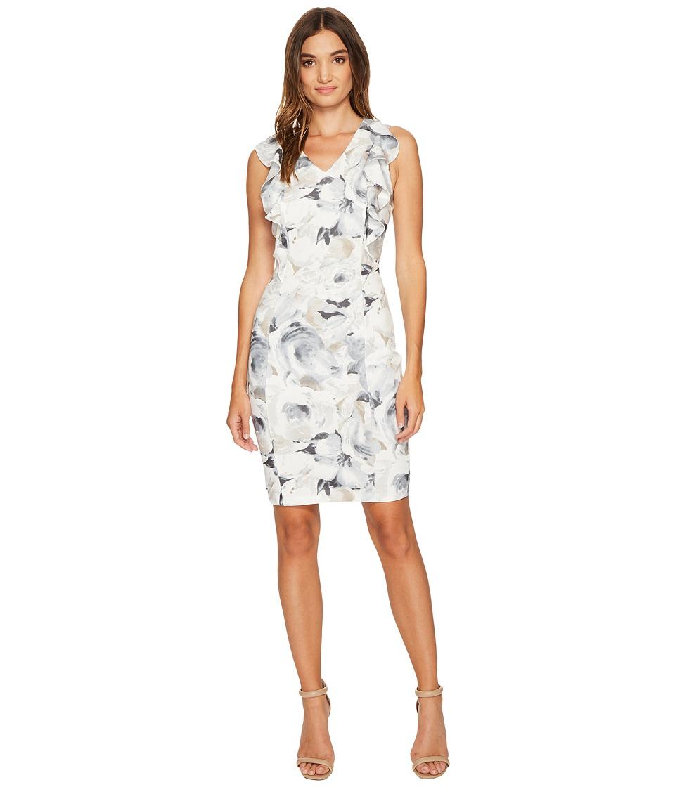 Calvin Klein Printed V-Neck Ruffle Dress (Latte Multi) Women