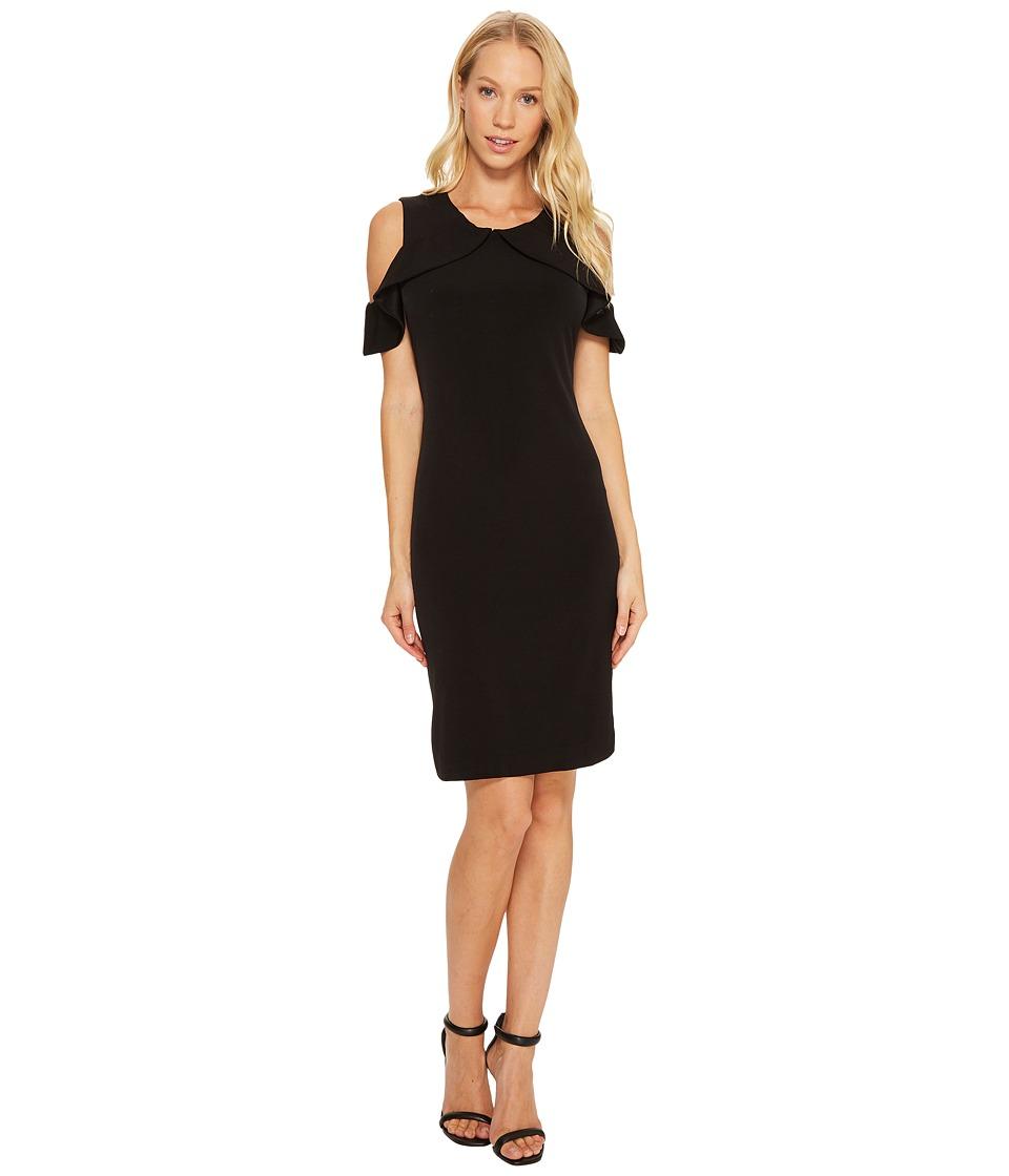 Calvin Klein Cold Shoulder Flutter Dress (Black) Women