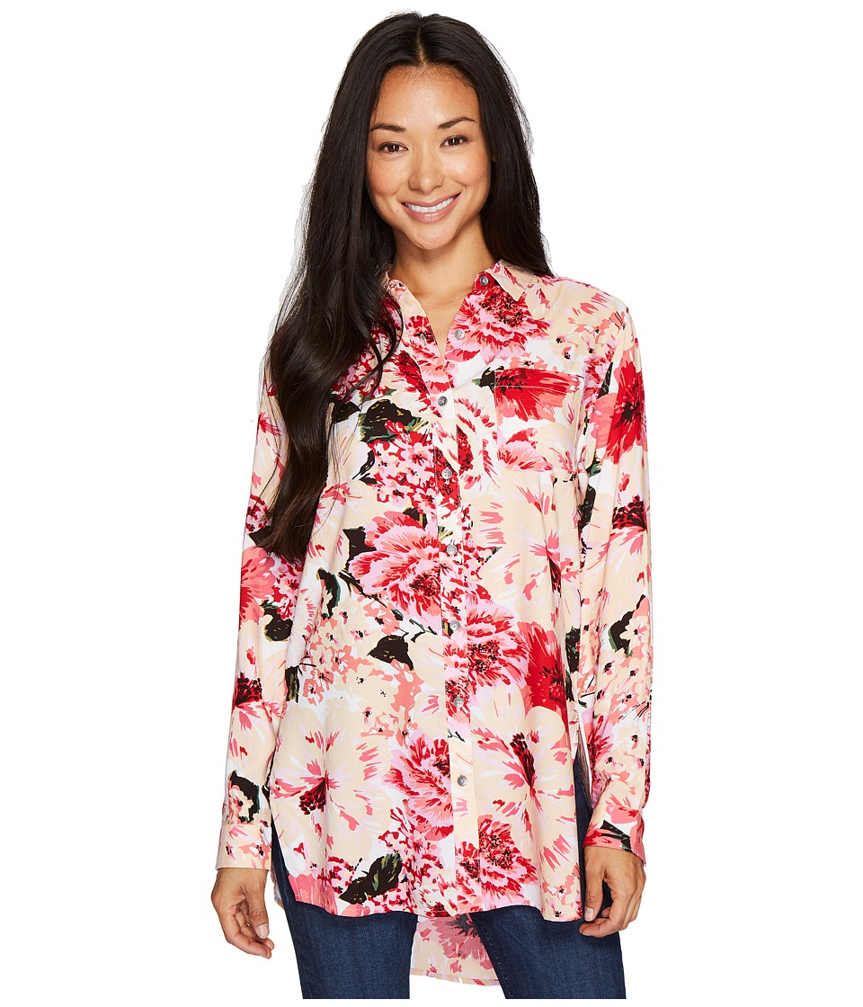 Jag Jeans Petite Petite Magnolia Tunic in Rayon Plaid (Pink) Women