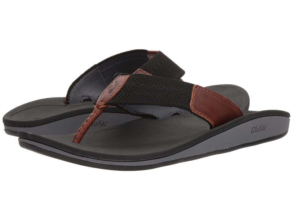 OluKai - Nohona Ulana (Black/Black) Men's Sandals