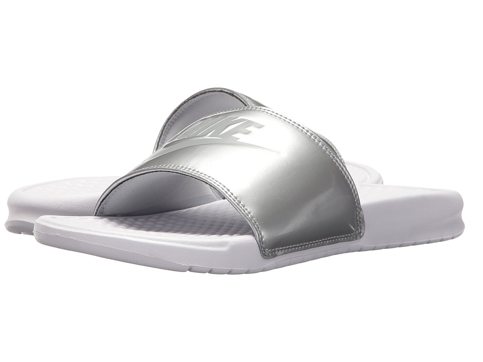 Nike Benassi JDI Slide (White/Wolf Grey/Metallic Silver) Sandals
