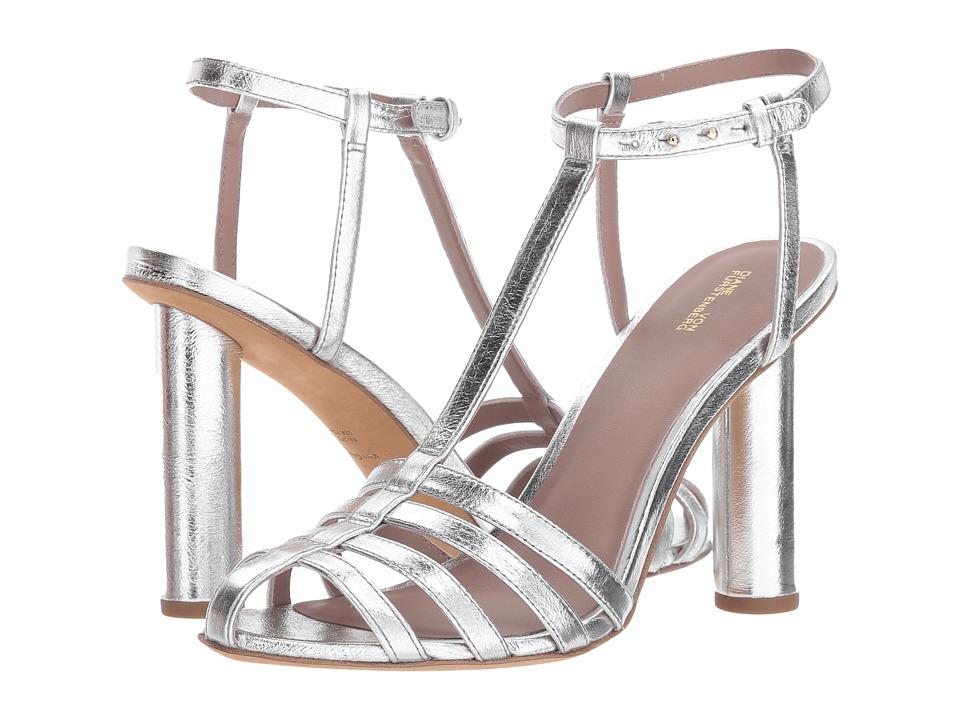 Diane von Furstenberg - Eva-2 (Metallic Silver Cracked Leather) Womens Shoes