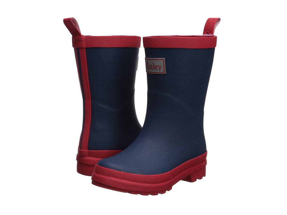 Hatley Kids Navy and Red Rain Boots (Toddler/Little Kid) (Navy/Red) Kids Shoes