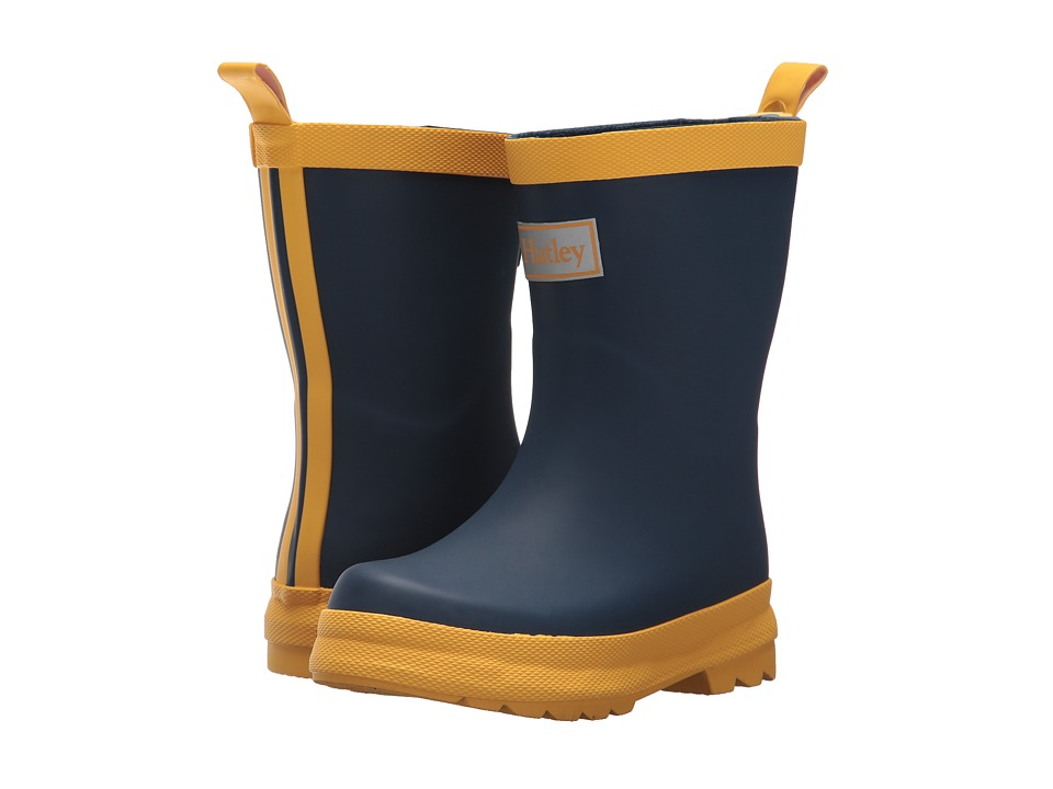 Hatley Kids Navy and Yellow Rain Boots (Toddler/Little Kid) (Navy/Yellow) Kids Shoes