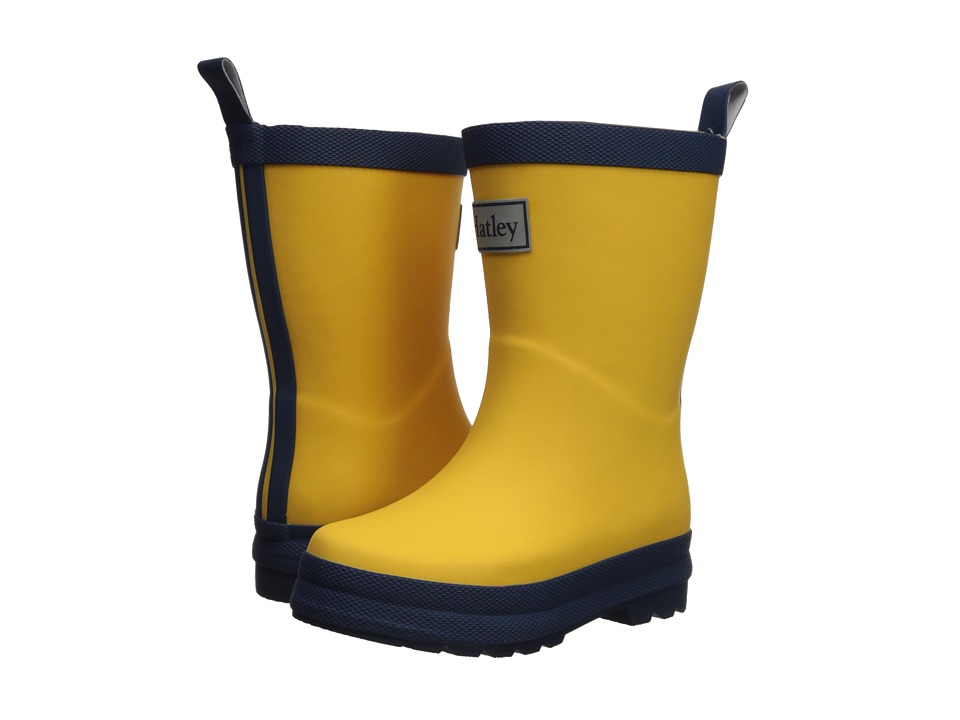 Hatley Kids Yellow and Navy Rain Boots (Toddler/Little Kid) (Yellow/Navy) Kids Shoes