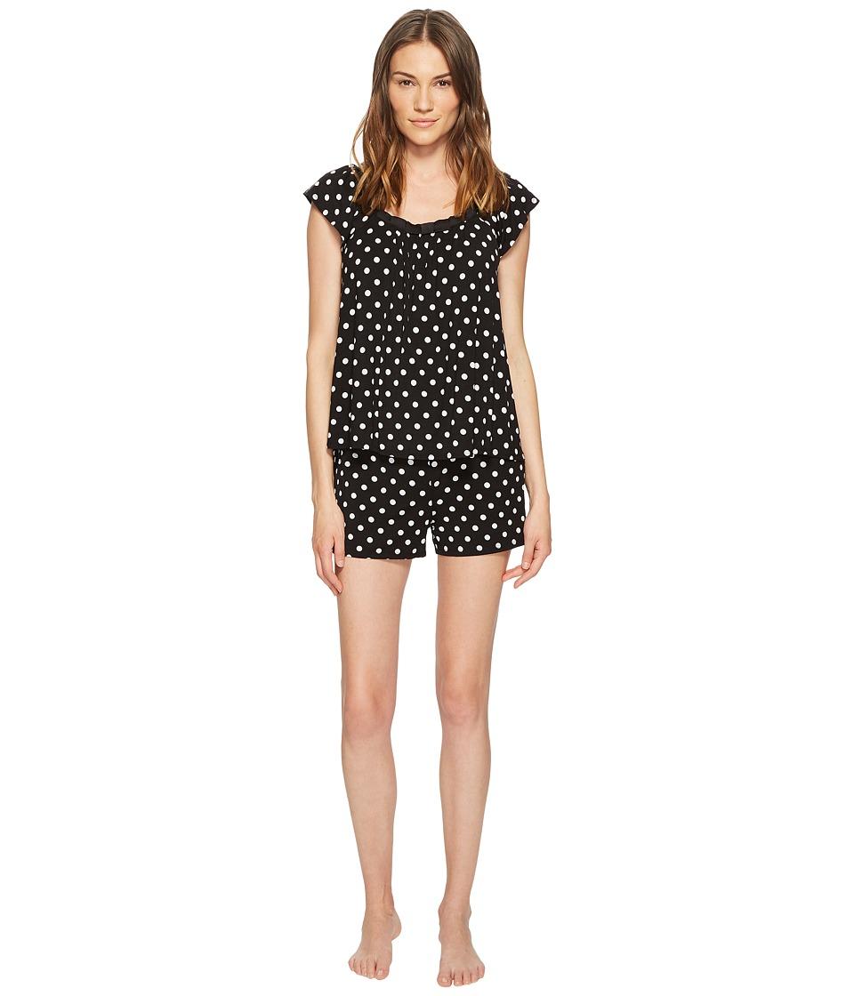 Kate Spade New York - Black Framed Dot Short Pajama Set (Black Framed Dot) Womens Pajama Sets