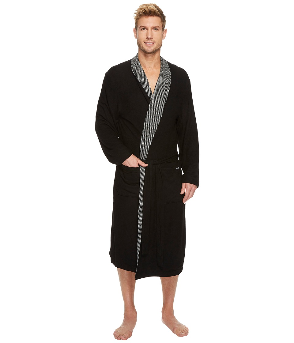 Kenneth Cole Reaction Cozy Sweater Robe with Reversible Stripe (Black) Men