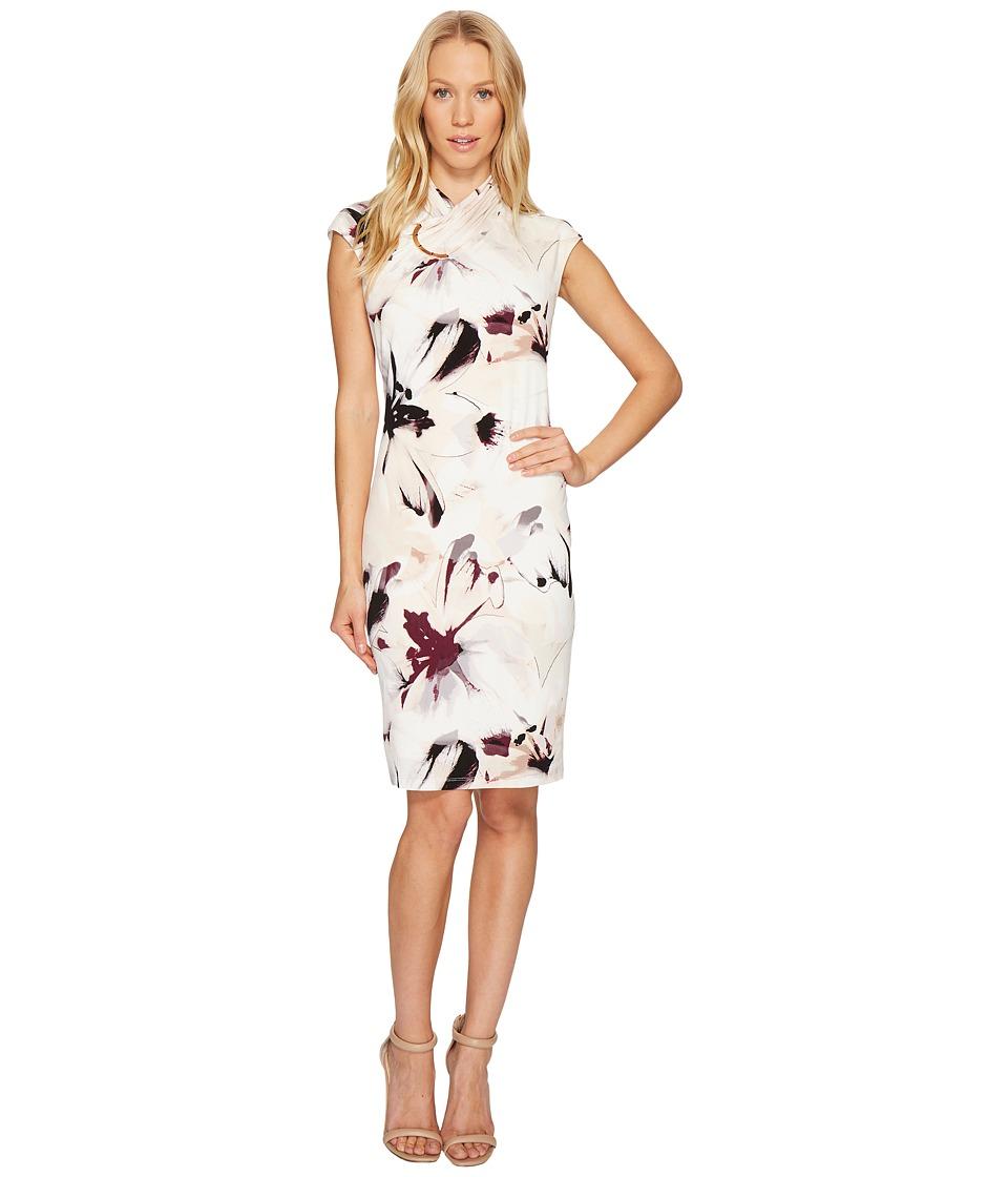 Calvin Klein Printed High Neck Dress (Blush Combo) Women