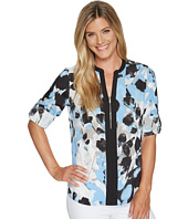 Calvin Klein - Printed Roll Sleeve Top with 1/2 Zip