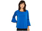 Bell Sleeve Top with Piping