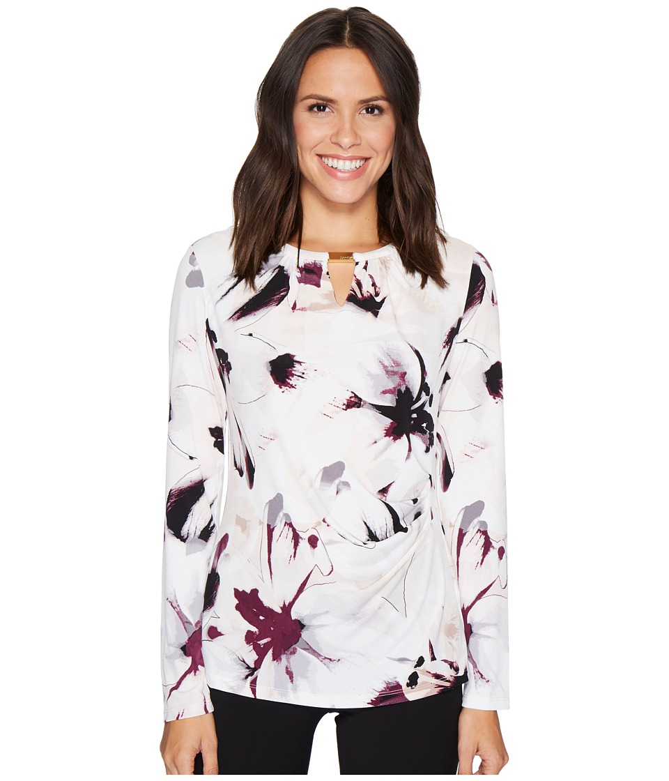 Calvin Klein - 3/4 Sleeve Printed Wrap Top