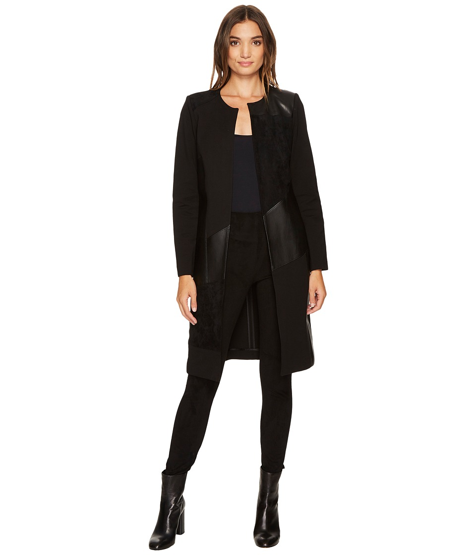 Calvin Klein Long Jacket with Suede and Faux Leather (Bla...